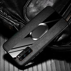 Huawei Honor 30 Pro用シリコンケース ソフトタッチラバー レザー柄 アンド指輪 マグネット式 ファーウェイ ブラック
