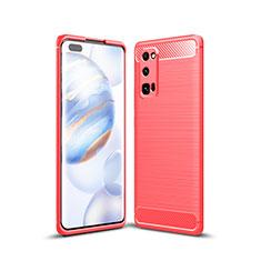 Huawei Honor 30 Pro用シリコンケース ソフトタッチラバー ライン カバー ファーウェイ レッド