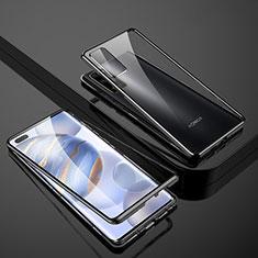Huawei Honor 30 Pro用ケース 高級感 手触り良い アルミメタル 製の金属製 360度 フルカバーバンパー 鏡面 カバー M02 ファーウェイ ブラック