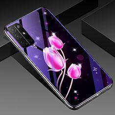 Huawei Honor 30S用ハイブリットバンパーケース プラスチック 鏡面 花 カバー ファーウェイ ピンク