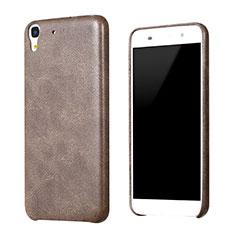 Huawei Honor 4A用ケース 高級感 手触り良いレザー柄 ファーウェイ ブラウン
