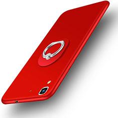 Huawei Honor 4A用ハードケース プラスチック 質感もマット アンド指輪 ファーウェイ レッド