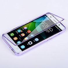 Huawei Honor 4C用ソフトケース フルカバー クリア透明 ファーウェイ パープル