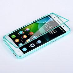 Huawei Honor 4C用ソフトケース フルカバー クリア透明 ファーウェイ ブルー