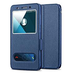 Huawei Honor 4X用手帳型 レザーケース スタンド ファーウェイ ネイビー