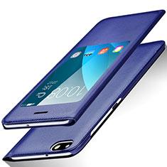 Huawei Honor 4X用手帳型 レザーケース スタンド L01 ファーウェイ ネイビー