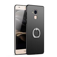 Huawei Honor 5C用ハードケース プラスチック 質感もマット アンド指輪 A03 ファーウェイ ブラック
