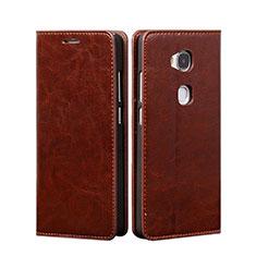 Huawei Honor 5X用手帳型 レザーケース スタンド ファーウェイ ブラウン