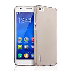 Huawei Honor 6用極薄ソフトケース シリコンケース 耐衝撃 全面保護 クリア透明 ファーウェイ グレー