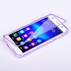 Huawei Honor 6用ソフトケース フルカバー クリア透明 ファーウェイ パープル