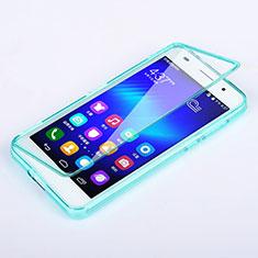 Huawei Honor 6用ソフトケース フルカバー クリア透明 ファーウェイ ブルー