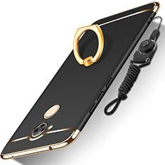 Huawei Honor 6A用ケース 高級感 手触り良い メタル兼プラスチック バンパー アンド指輪 亦 ひも ファーウェイ ブラック
