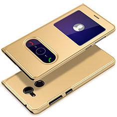 Huawei Honor 6A用手帳型 レザーケース スタンド ファーウェイ ゴールド