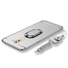 Huawei Honor 6X用ケース 高級感 手触り良い メタル兼プラスチック バンパー アンド指輪 亦 ひも ファーウェイ シルバー