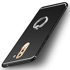 Huawei Honor 6X用極薄ソフトケース シリコンケース 耐衝撃 全面保護 アンド指輪 バンパー ファーウェイ ブラック