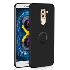 Huawei Honor 6X用ハードケース プラスチック 質感もマット アンド指輪 A02 ファーウェイ ブラック