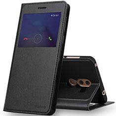Huawei Honor 6X用手帳型 レザーケース スタンド ファーウェイ ブラック