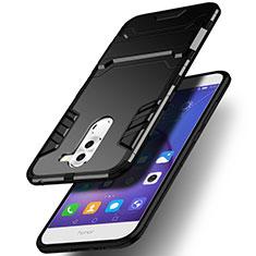 Huawei Honor 6X用ハイブリットバンパーケース スタンド プラスチック 兼シリコーン ファーウェイ ブラック