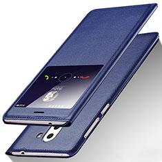 Huawei Honor 6X用手帳型 レザーケース スタンド L01 ファーウェイ ネイビー