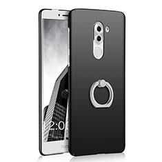 Huawei Honor 6X用ハードケース プラスチック 質感もマット アンド指輪 A03 ファーウェイ ブラック