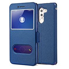 Huawei Honor 6X用手帳型 レザーケース スタンド L02 ファーウェイ ネイビー