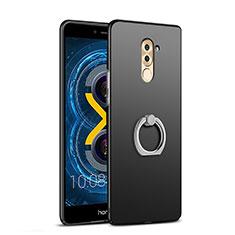 Huawei Honor 6X用ハードケース プラスチック 質感もマット アンド指輪 A04 ファーウェイ ブラック