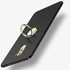 Huawei Honor 6X用ハードケース プラスチック 質感もマット アンド指輪 A05 ファーウェイ ブラック
