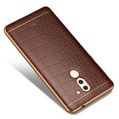 Huawei Honor 6X用シリコンケース ソフトタッチラバー レザー柄 W01 ファーウェイ ブラウン