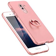 Huawei Honor 6X用ハードケース プラスチック 質感もマット アンド指輪 A06 ファーウェイ ピンク