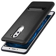 Huawei Honor 6X用シリコンケース ソフトタッチラバー ツイル ともにホルダー ファーウェイ ブラック
