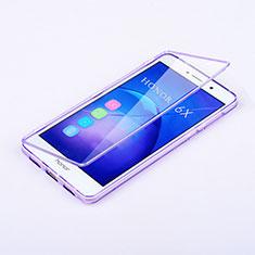 Huawei Honor 6X用ソフトケース フルカバー クリア透明 ファーウェイ パープル