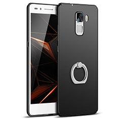 Huawei Honor 7用ハードケース プラスチック 質感もマット アンド指輪 A01 ファーウェイ ブラック