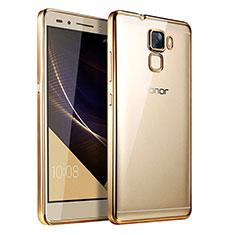 Huawei Honor 7用極薄ソフトケース シリコンケース 耐衝撃 全面保護 クリア透明 T06 ファーウェイ ゴールド