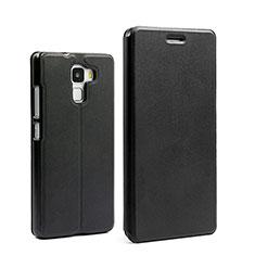Huawei Honor 7用手帳型 レザーケース スタンド ファーウェイ ブラック