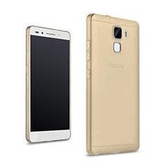 Huawei Honor 7用極薄ソフトケース シリコンケース 耐衝撃 全面保護 クリア透明 カバー ファーウェイ ゴールド