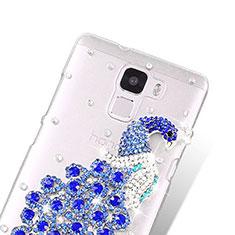 Huawei Honor 7用ケース ダイヤモンドスワロフスキー 孔雀 ファーウェイ ネイビー
