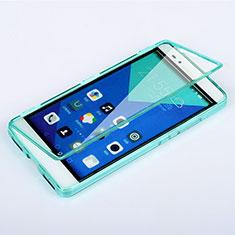 Huawei Honor 7用ソフトケース フルカバー クリア透明 ファーウェイ ブルー