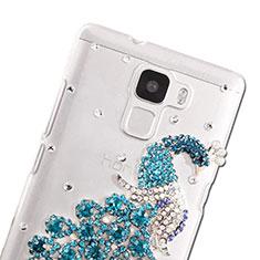 Huawei Honor 7 Dual SIM用ケース ダイヤモンドスワロフスキー 孔雀 ファーウェイ ブルー