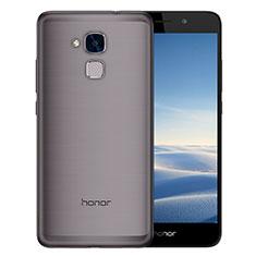 Huawei Honor 7 Lite用極薄ソフトケース シリコンケース 耐衝撃 全面保護 クリア透明 T02 ファーウェイ グレー