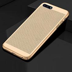 Huawei Honor 7A用ハードケース プラスチック メッシュ デザイン カバー ファーウェイ ゴールド