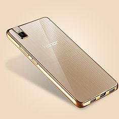Huawei Honor 7i shot X用極薄ソフトケース シリコンケース 耐衝撃 全面保護 クリア透明 T06 ファーウェイ ゴールド