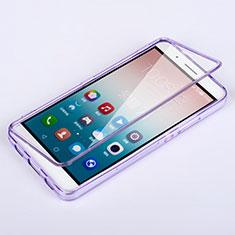 Huawei Honor 7i shot X用ソフトケース フルカバー クリア透明 ファーウェイ パープル