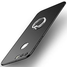 Huawei Honor 8用ハードケース プラスチック 質感もマット アンド指輪 A01 ファーウェイ ブラック