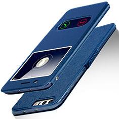 Huawei Honor 8用手帳型 レザーケース スタンド L01 ファーウェイ ネイビー