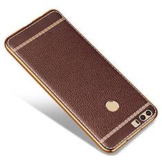 Huawei Honor 8用シリコンケース ソフトタッチラバー レザー柄 ファーウェイ ブラウン