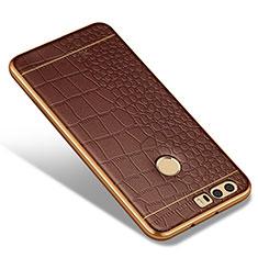 Huawei Honor 8用シリコンケース ソフトタッチラバー レザー柄 W01 ファーウェイ ブラウン
