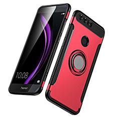 Huawei Honor 8用ハイブリットバンパーケース プラスチック アンド指輪 兼シリコーン ファーウェイ レッド