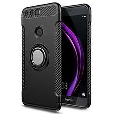 Huawei Honor 8用ハイブリットバンパーケース プラスチック アンド指輪 兼シリコーン ファーウェイ ブラック