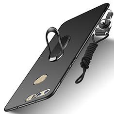 Huawei Honor 8用ケース 高級感 手触り良い メタル兼プラスチック バンパー アンド指輪 亦 ひも A01 ファーウェイ ブラック