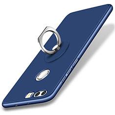 Huawei Honor 8用ハードケース プラスチック 質感もマット アンド指輪 ファーウェイ ネイビー